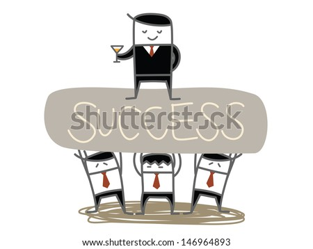 business man team lift boss to success - stock vector