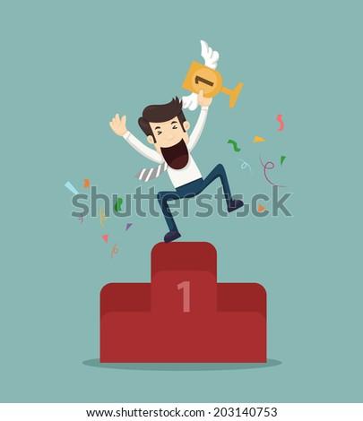 Business man the winner - stock vector