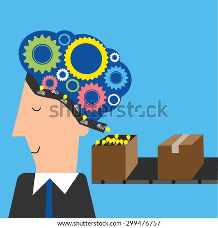Business man think and have many ideas vector. illustration EPS10. - stock vector