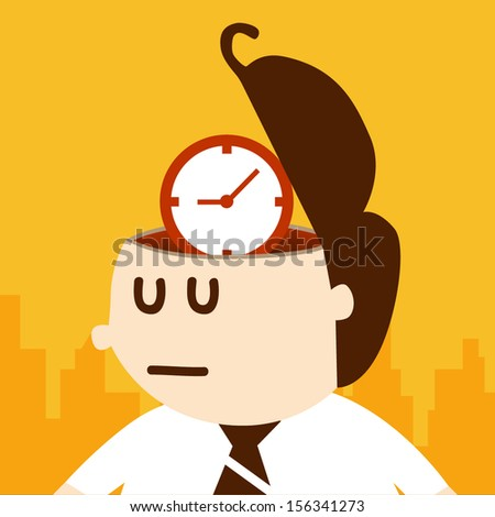 Business man thinking about time, EPS10 vector format - stock vector
