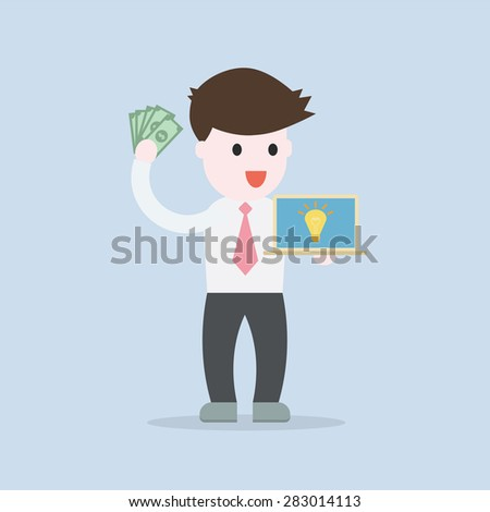 Business man thinking an idea for make money concept , EPS10 vector illustration - stock vector
