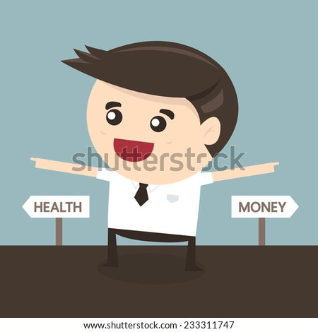 Business man thinking of choice, health and money, flat design - stock vector