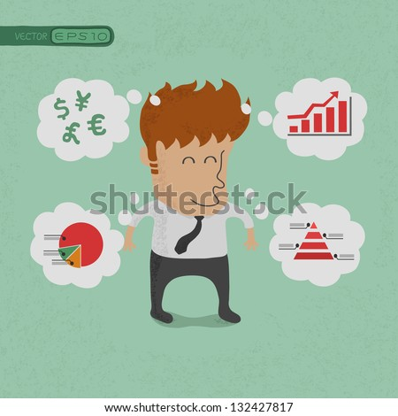 Business man thinking of his plans  , eps10 vector format - stock vector
