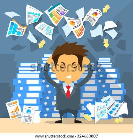 Business Man Throw Papers Hold Hands on Temples Head, Concept of Stressed Businessman Headache Problem Documents Fly Concept Negative Emotion Office Flat Vector Illustration - stock vector