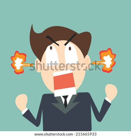 Business man to rage and flame in head - stock vector