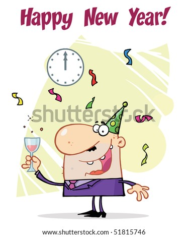 Business Man Toasting At A New Years Party - stock vector