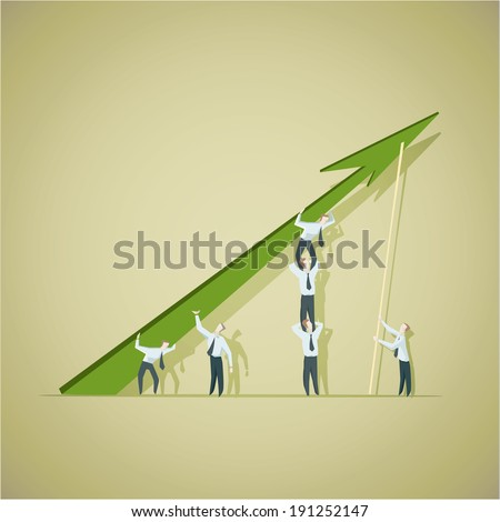 Business man trying to improve achievement graph - stock vector