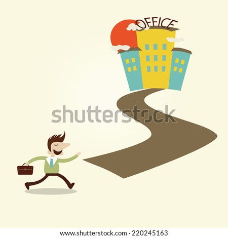 Business man walking to office in the morning. Vector cartoon design. - stock vector