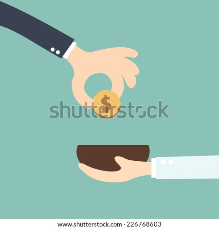 business man with an open hand gives coin to boss - stock vector