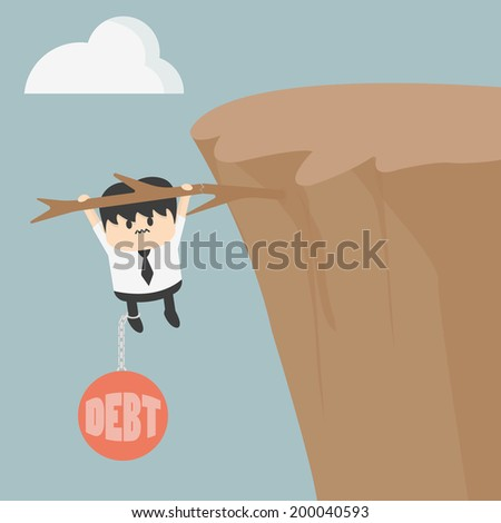 Business man with debt - stock vector