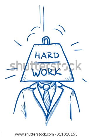 Business man with heavy weight instead of head, symbolizing stress, burnout, headache, depression, hard work, hand drawn doodle vector illustration - stock vector