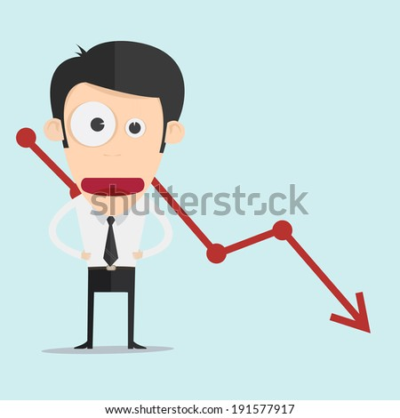 Business man with negative graph  - stock vector