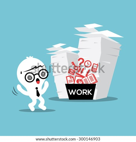 Business man with stack of paper work load conceptual illustration - stock vector
