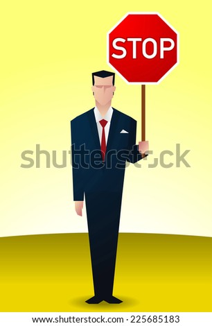 business man with stop sign. - stock vector
