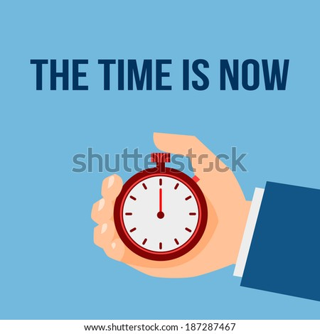 Business man with stop watch the time is now management poster vector illustration - stock vector