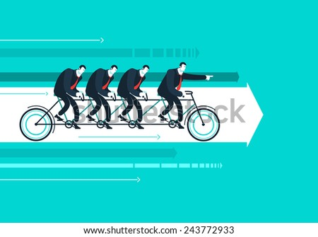 Business man with team on the bicycle who shows the way.  Vector illustration Eps 10  - stock vector