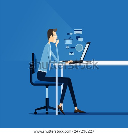 business man working on line concept - stock vector