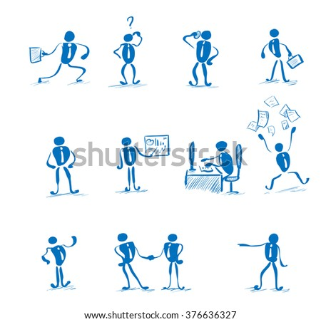 Business Man Working Set Daily Routine Hand Draw Simple Line Vector Illustration - stock vector