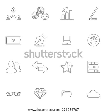 Business, management and human resources / HR / Icons Set - stock vector