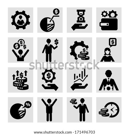 Business, Management and Success Vector Icons Set. - stock vector