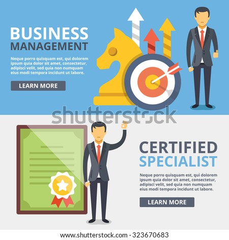 Business management, certified specialist flat illustration concepts set. Modern flat design concepts for web banners, web sites, printed materials, infographics. Creative vector illustration - stock vector