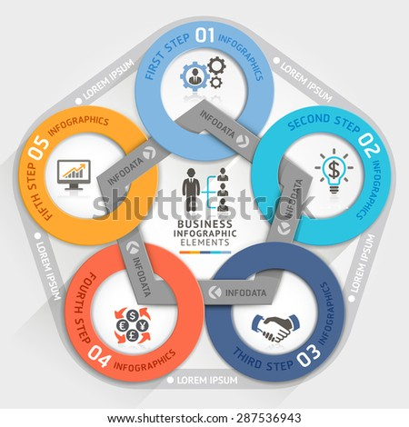 Business management circle origami style options banner. Vector illustration. can be used for work flow layout, diagram, number options, step up options, web design, infographics. - stock vector