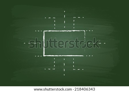 Business Management Flow Chart Rectangles Graphic On Green Board - stock vector