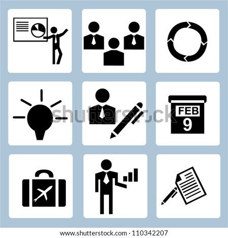 business management icon set and company - stock vector