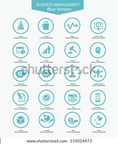 Business Management icons,Blue version,vector - stock vector