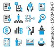 business management icons set, human resource icons set - stock vector