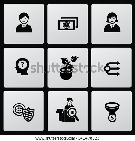 Business management icons,vector - stock vector