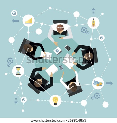Business management meeting and brainstorming concept with people on the round table in top view vector illustration - stock vector
