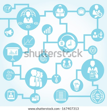 business management network background - stock vector