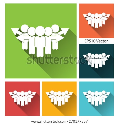 Business management, strategy or human resource icon - long shadow flat icon set - stock vector