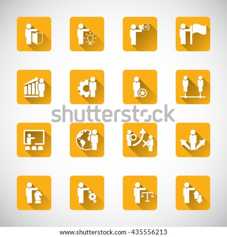 Business management, strategy or human resource icon set. - stock vector