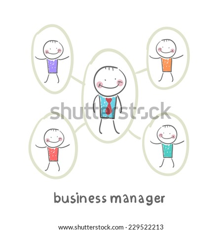 business manager and his staff - stock vector