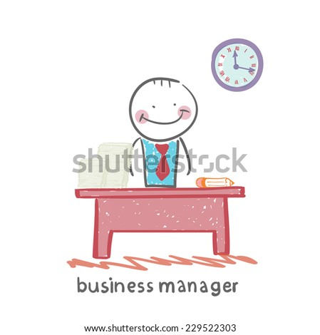 business manager at his workplace - stock vector
