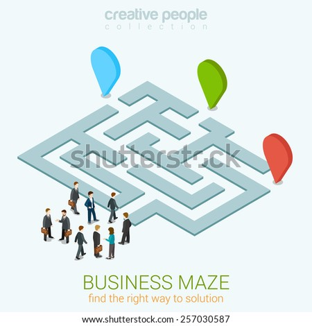 Business maze puzzle flat 3d web isometric infographic concept vector template. Find your way to solution. Group pf businessmen near entrance. Creative people collection. - stock vector