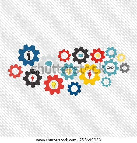 Business mechanism concept web technology and social network theme. Abstract background with connected gears and icons for strategy, service, research, seo, digital marketing, communicate concepts. - stock vector