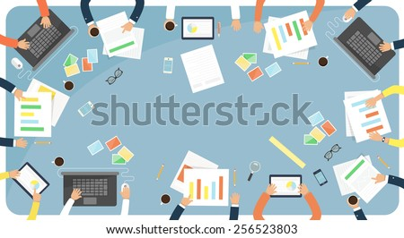 Business meeting and brainstorming. Flat design illustration. - stock vector