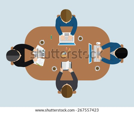 Business meeting, brainstorming in flat style. - stock vector