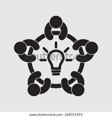 business meeting brainstorming strategy vector icon - stock vector