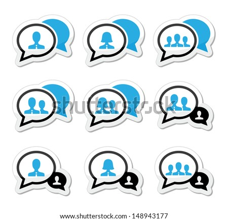 Business meeting, communication icons set - stock vector