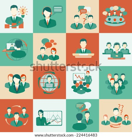 Business meeting flat icons set of collaboration planning partnership elements isolated vector illustration. - stock vector