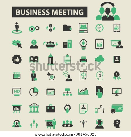 business meeting icons, business meeting logo, business meeting vector, business meeting flat illustration concept, business meeting infographics, business meeting symbols,   - stock vector