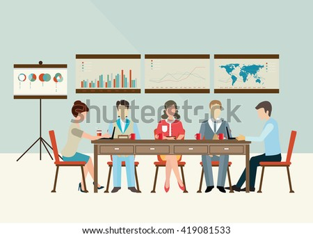 Business meeting, office life, teamwork or brainstorming in flat style, conceptual vector illustration. - stock vector