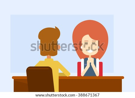 Business Meeting Office Woman Sit Table With Client Flat Vector Illustration - stock vector
