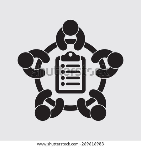 business meeting planning survey agenda selection evaluation focus group vector icon  - stock vector