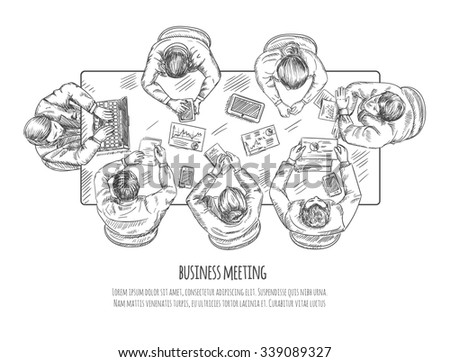 Business meeting professional discussion and teamwork concept sketch vector illustration - stock vector
