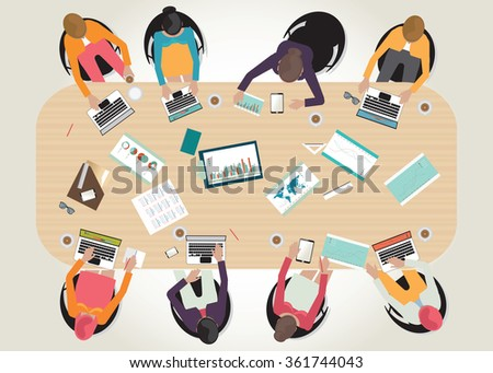 Business meeting top view, office, teamwork, brainstorming, office desk, in flat style, conceptual vector illustration. - stock vector